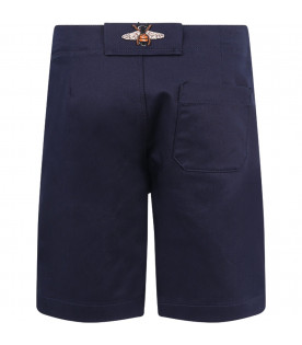 Blue boy short with grey logo