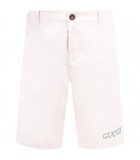 GUCCI KIDS Ivory boy short with grey logo