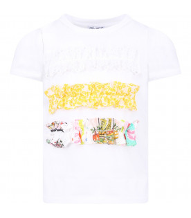 SIMONETTA White girl T-shirt with metallic logo