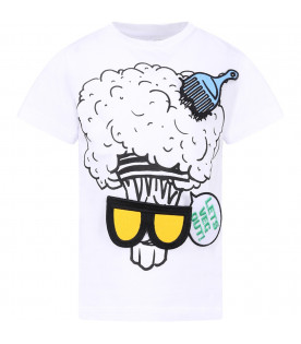STELLA MCCARTNEY KIDS White kids T-shirt with broccoli and patches