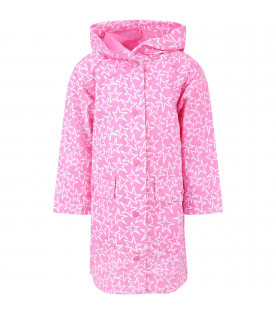 STELLA MCCARTNEY KIDS Impermeabile rosa per bambina con stelle bianche all-over