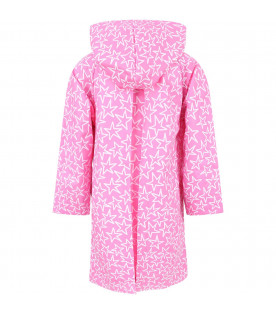 STELLA MCCARTNEY KIDS Pink girl raincoat with white all-ver stars
