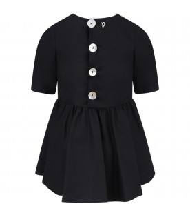 DONDUP KIDS Black girl dress with iconic D