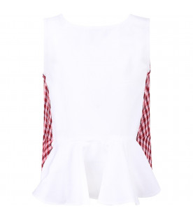 DONDUP KIDS White and red girl blouse with iconic D