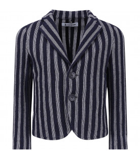 Blue,light blue and white striped boy jacket with iconic D