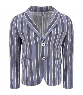 DONDUP KIDS Blue,light blue and white striped boy jacket with iconic D
