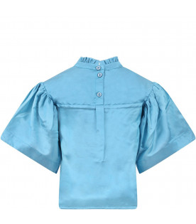 RASPBERRY PLUM Light blue''Hannah'' girl blouse with colorful patches