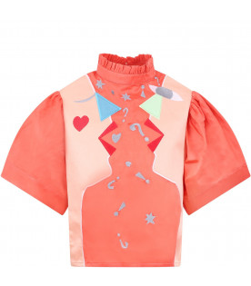 RASPBERRY PLUM Pink ''Hannah'' girl blouse with colorful figures