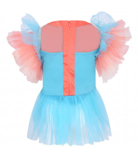 RASPBERRY PLUM Light blue girl dress with colorful patches