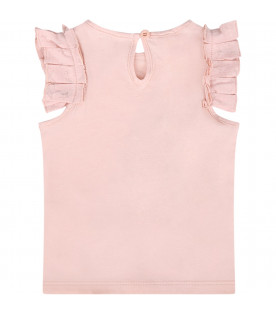 STELLA MCCARTNEY KIDS Pink babygirl tank top with stars