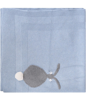 STELLA MCCARTNEY KIDS Light blue babyboy blanket with grey rabbits