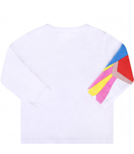 STELLA MCCARTNEY KIDS T-shirt bianca per neonati con tucano colorato