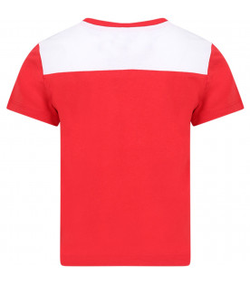 CALVIN KLEIN KIDS Red and white boy T-shirt with white and black logo