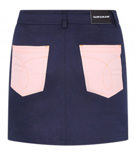 CALVIN KLEIN KIDS Blue girl skirt with colorful roses