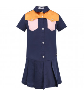 CALVIN KLEIN KIDS Blue girl dress with colorful details
