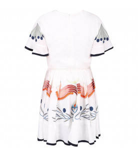 CHLOÉ KIDS Ivory girl dress with colorful prints