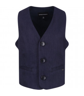 ARMANI JUNIOR   Blue boy vest with iconic eagle