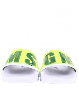 MSGM KIDS White boy sandals with black logo