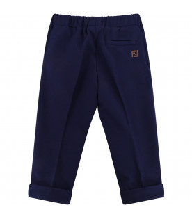 FENDI KIDS Blue babyboy sweatpant with brown iconic double FF
