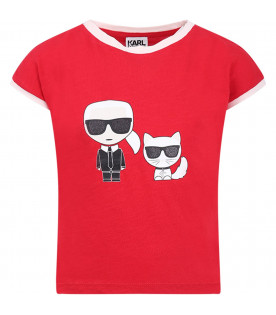 KARL LAGERFELD KIDS Red girl T-shirt with colorful Cartoon Karl