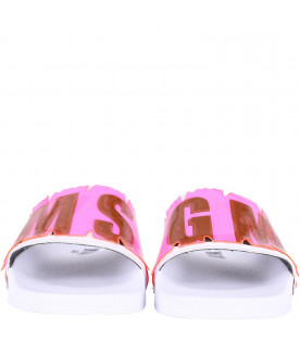 MSGM KIDS White girl sandals with black logo