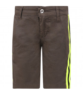 MSGM KIDS Military green boy short with neon yellow and black stripes