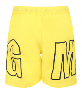 MSGM KIDS Yellow boy swimwear with black logo