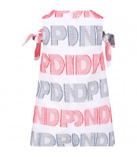 DONDUP KIDS White girl dress with red and blue all-over lgogo