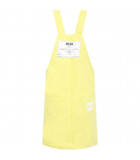 MSGM KIDS Neon yellow girl overalls with white and neon yellow logo