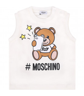 MOSCHINO KIDS White anad blue babyboy set with colorful teddy bear
