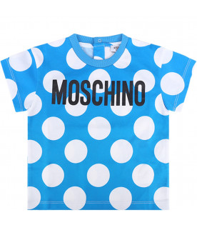 MOSCHINO KIDS Azure babyboy T-shirt with black logo