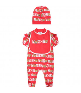 MOSCHINO KIDS Red babyboy set with white all-over logo and colorful Teddy Bears