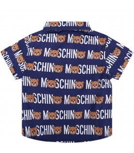 MOSCHINO KIDS Camicia blu per neonato con Teddy Bear colorati e logo bianco all-over
