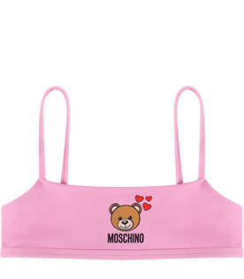 MOSCHINO KIDS Pink girl bikini with colorful Teddy Bear and black logo