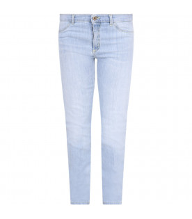 DONDUP KIDS Light blue ''Appetite'' girl jeans with iconic D