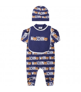 MOSCHINO KIDS Blue babyboy set with white all-over logo and colorful Teddy Bears