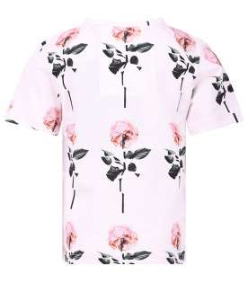 CAROLINE BOSMANS T-shirt rosa per bambina con rose colorate