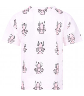 CAROLINE BOSMANS Pink girl T-shirt with colorful lobsters