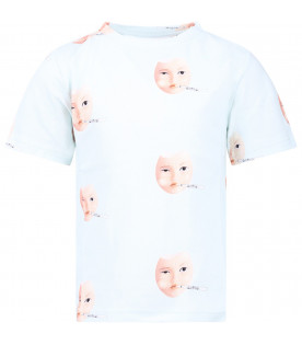 Aquamarine girl T-shirt with colorful eggs