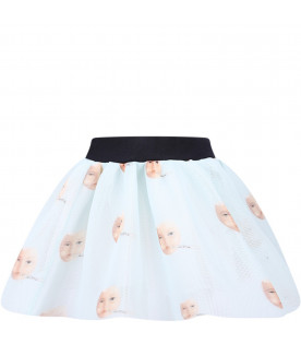 CAROLINE BOSMANS Aquamarine girl skirt with colorful cats