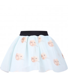 Aquamarine girl skirt with colorful cats