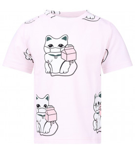 CAROLINE BOSMANS Pink girl T-shirt with colorful cats