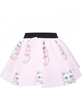 CAROLINE BOSMANS Pink girl skirt with colorful cats