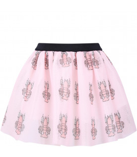 CAROLINE BOSMANS Pink girl skirt with colorful lobster