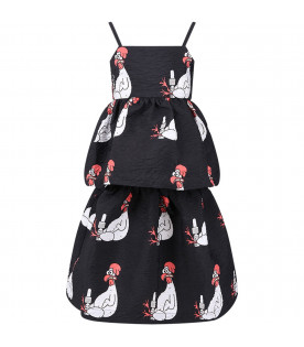 CAROLINE BOSMANS Black girl dress with colorful all-over cocks