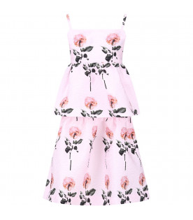 CAROLINE BOSMANS Pink girl dress with colorful all-over roses