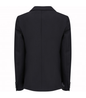 NEIL BARRETT KIDS Black boy jacket with white details