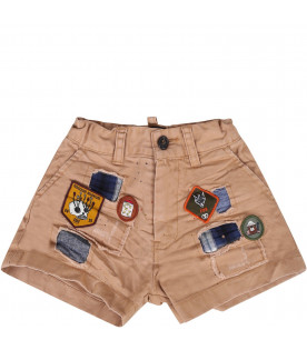 DSQUARED2 Beige babyboy short with iconicc patches