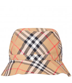 BURBERRY KIDS Beige girl sun hat with check