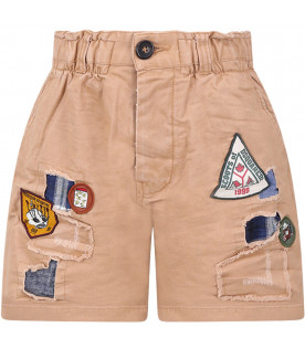 DSQUARED2 Beige boy short with iconicc patches
